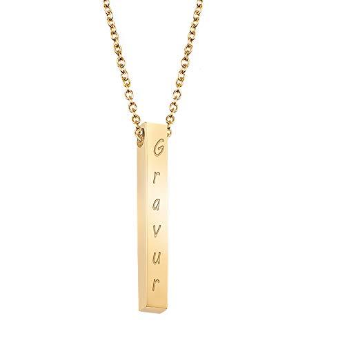 Namenskette Damen Kette mit Namen – Personalisierte Stab Kette mit Gravur – 18k Gold vergoldet, Frauen Halskette mit Bar Anhänger, Goldkette (Gold)