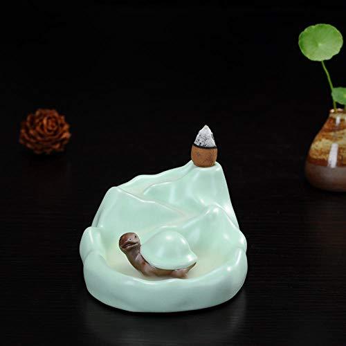 Accessoires pour Service à thé Maitreya Buddha Decoration Opening Ge Kiln Tea Pet Tea Set Ceramic Lucky Tea Play Tea Puppet Tea Table Decoration Tea Set Accessories-Back Encense Turtle RU Kiln Powder