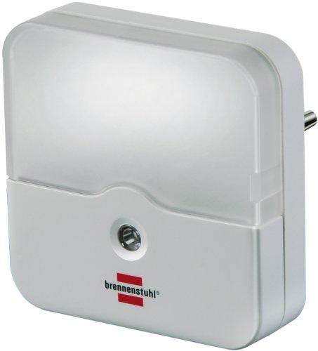 Brennenstuhl LED-Orientierungslicht eckig / Nachtlicht mit Dämmungssensor für die Steckdose (sanftes und unaufdringliches Licht, mit 2 LEDs) weiß