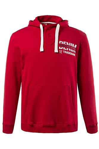 JP 1880 Herren große Größen bis 7XL, Hoodie, Pullover, Sweater aus Baumwolle, Kapuzen-Pullover mit Aufschrift, Knopfleiste, Langarm rot 5XL 708413 51-5XL