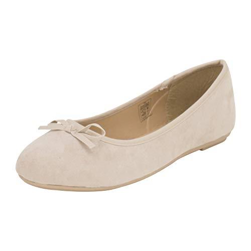 Fitters Footwear That Fits Damen Ballerina Helen Microfibre modische Basic Ballerinas mit Schleife Übergröße (43 EU, beige)