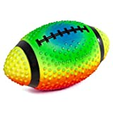 Practice Football Neon Colored 9' Spiked for gripping Control Made of Soft Rubber Inflatable Football air Filled Great for The Pool or Playground