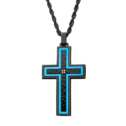 INOX Men's Hammered Blue Line Cross with CZ Stainless Steel Pendant On 24 inch Black Rope Polished Chain Necklace