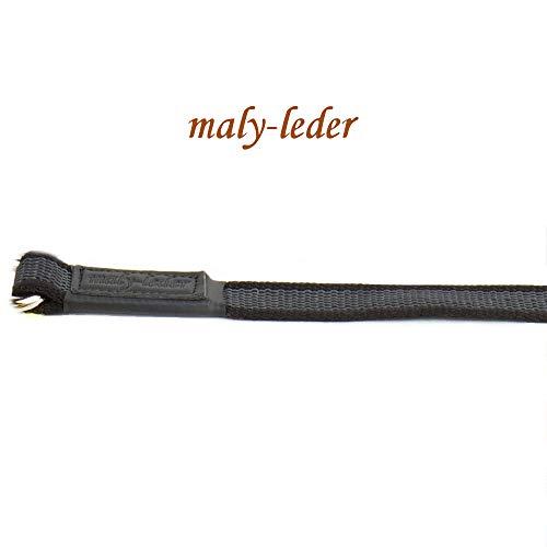 maly-leder Gummierte Hundeleine extra stark, 1m ohne Schlaufe/mit Schlaufe, schwarz (ohne Schlaufe)