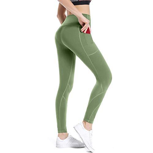 Mallas Deportivas de Mujer, Mujer Pantalones elásticos de yoga con bolsillos laterales, polainas de yoga Fitness Pantalons Deportivos de Empalme con Bolsillo de Cintura Alta Pantalones de Yoga