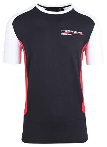 Porsche Motorsport - Camiseta de manga corta para hombre, cuello redondo, color negro, EU 2XL / US XL