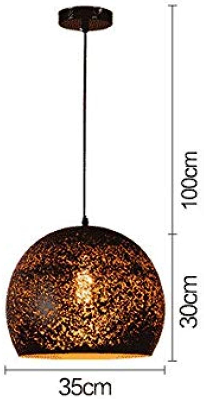 ACZZ Retro runde Pendelleuchte Hohle Pendelleuchte E 27 Metall Eisen Deckenlampe Schwarzer Scheinwerfer Vintage Roomfor Flur Wohnzimmer Esszimmer Schlafzimmer Loft, L35Cm