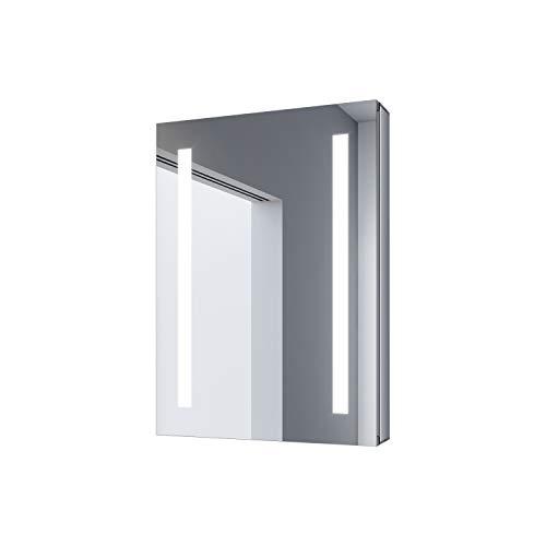 SONNI Spiegelschrank Bad 50 × 70cm LED Spiegelschrank Bad mit Beleuchtung Badezimmer Spiegelschrank Aluminium wasserdicht aufwärts & abwärts hängbar Spiegelschrank mit Kippschalter