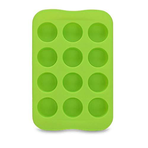 CTOBB Kuchen-Form-Stern-Quadrat-Geleeform Küchenzubehör 12 Gitter Runde Schokoladen-Form-EIS-Würfel-Herz kreativer Silikon-1PC, runde grüner