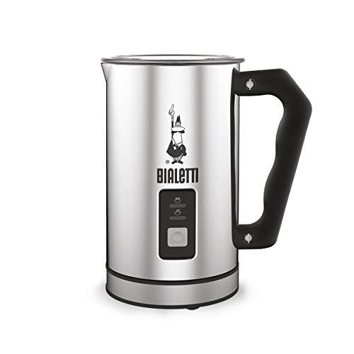 Bialetti 0004430 Montalatte Elettrico, capacità 240 ml, 500 W, 1 tazza, Acciaio Inossidabile, Argento/Nero