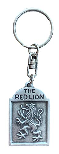 Emblems-Gifts The Red Lion Pub Sign Handmade Pewter Key Ring Made From English Pewter KR1592+ 59mm Button Badge