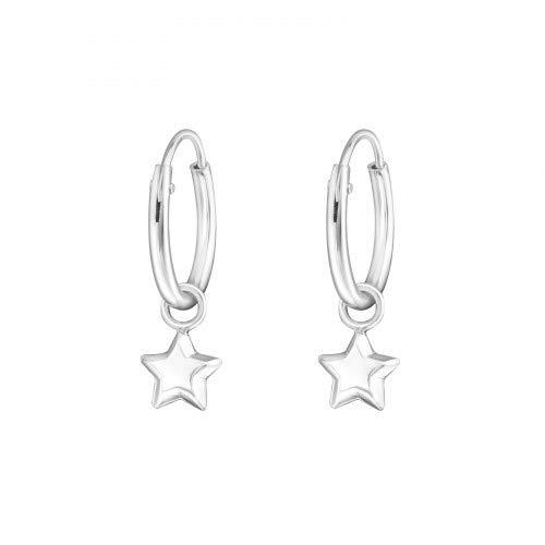 925 Sterling Silver Small Hooped Earrings from Lotus Flower Trading Co. with dangling embossed star 5 mm - Diameter 12 mm earrings unisex earrings jewellery women boho stud women funky emo pretty set