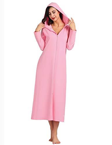 Zexxxy Nachtkleider Damen mit Reißverschluss Morgenmantel Kapuze Robe Pyjama Schwangere Hauskleid Rosa M