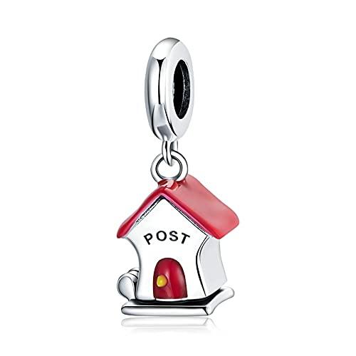 925 Sterling Silver Letter Box Charm Red Pendant Fit Original Bracelet Necklace Pendant
