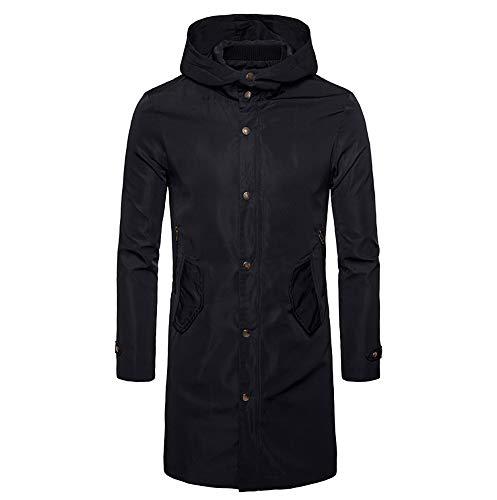Best Deals! Men Winter Coat Sale Button Long Trench Cardigan Long Sleeve Windproof Waterproof Jacket