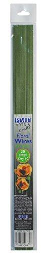 PME FW20 Set de 50 Fils pour Fleurs, Métal, Vert, 0,1 x 0,1 x 36 cm