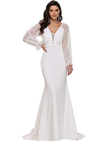 Ever-Pretty Damen Tiefer V-Ausschnitt Spitze Langarm Empire Bodycon Meerjungfrau Lange Hochzeitskleider für Braut mit Kapellenzug Weiß 48EU