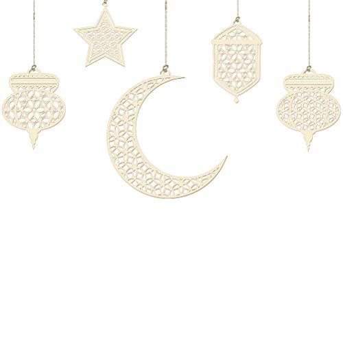 Ayaaa Wooden moon pendants Ramadan decoration garland star wooden discs wooden moon star Ramadan Eid Mubarak wooden pendants for Eid Ramadan DIY Home Decoration
