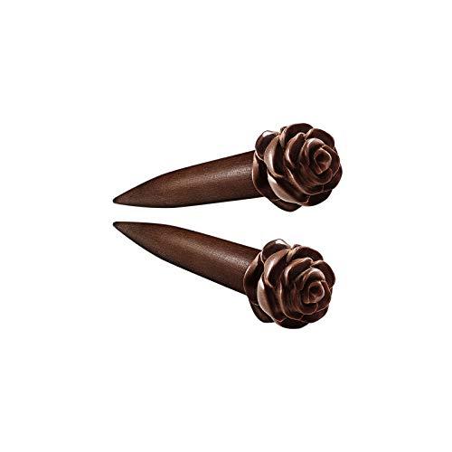 KJM FASHION 2 STK 5mm 4gauge Taper Hand Geschnitzte Rose geformt Earplugs Dehnungsstab Ohr Taper Lang Flesh Ohrringe Expander Piercing Schmuck 5306