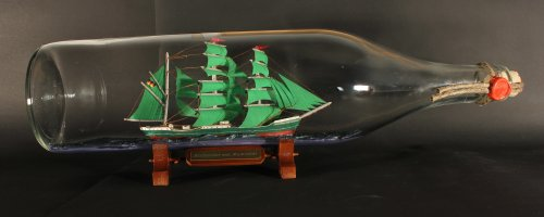 Alexander von Humboldt 3 Liter runde Asbach - Flasche 49 cm Buddelschiff Becks Bier Werbung Flaschenschiff