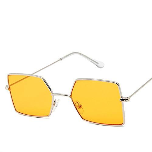 Gafas De Sol Rectangulares Pequeñas Gafas De Sol Amarillas para Hombres Marco De Metal Gafas Vintage Uv400 Adecuado para Compras De Viajes Al Aire Libre Y Tomar El Sol, Etc.- Naranja