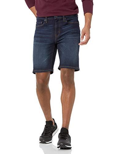 Amazon Essentials Men s Slim-Fit 9  Inseam Denim Short, Dark Wash, 36