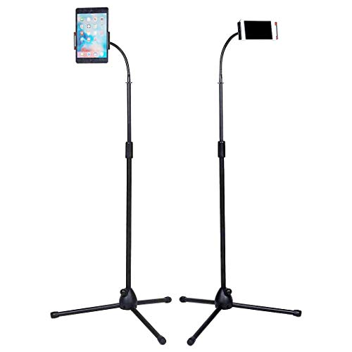 Medla Soporte de Pie para Teléfono y Tablet, Soporte Trípode Portátil para 4.7-10 Pulgadas de Tabletas, Altura Ajustable de 107-168cm, Rotación de 360 Grados