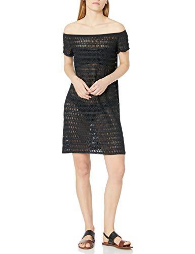 Profile by Gottex Women's Off Shoulder Beach Dress Swimsuit Cover Up, Roulette Black, Large