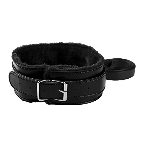iiniim Uinsex Classic Soft Fuax Leather Adjustable Handmade Fur Lining Choker Collar Necklace with Detachable Leash Chain Black One Size