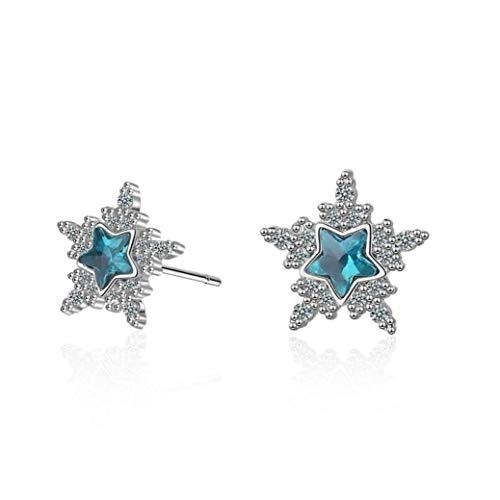 PiniceCore 1pair Dolce Artificiale di Cristallo Blu della Stella Orecchini per Le Donne di Colore Argento Zircone Orecchini Fiocco di Neve