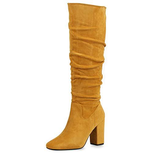 SCARPE VITA Damen Klassische Stiefel Veloursleder-Optik High Heels Blockabsatz Schuhe Slouch Boots Langschaftstiefel Absatzschuhe 186440 Gelb 40