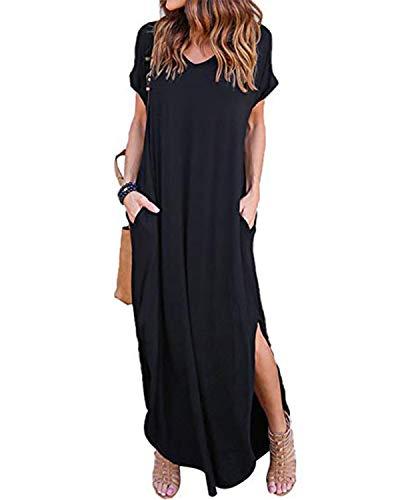 ZANZEA Damen V-Ausschnitt Kurzarm Strand Sommerkleid langes Abendkleid mit Tasche Black M