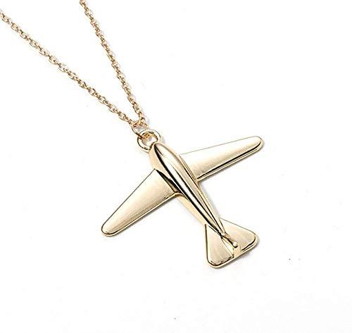 Xianglsp Co.,ltd Halskette Einfache Mode Stereo Flugzeug Anhänger Kette Halsketten & Anhänger Gold Farbe Halskette Frauen Schmuck Zubehör