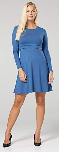 Zeta Ville – Stillen A-Linie Kleid Schwangere Rundhalsausschnitt – Damen – 128c (Blau Jeans) - 4