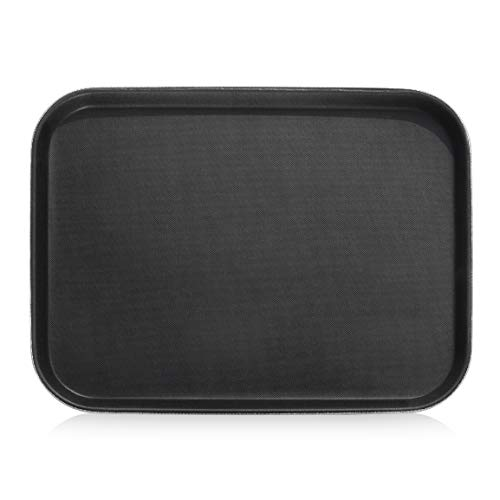 New Star Foodservice 24975 Restaurant Grade Non-Slip Tray, Plastic, Rubber Lined, Rectangular, 12' x 16' Inch, Black