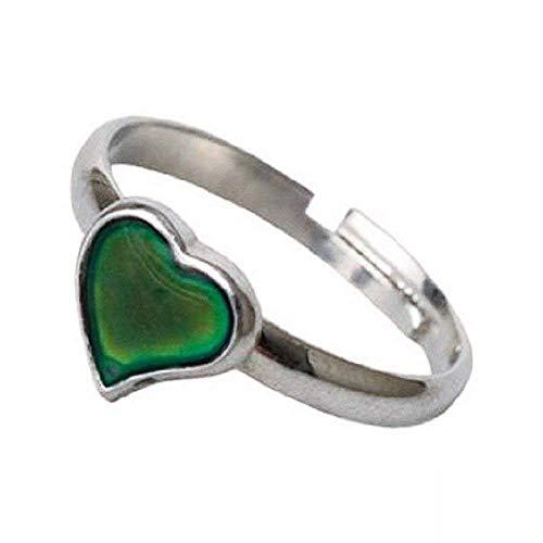 Legisdream Anillo de corazón mágico símbolo de Estado de ánimo Cambio de Color del corazón Anillo de Estado de ánimo Ajustable Mood Ring