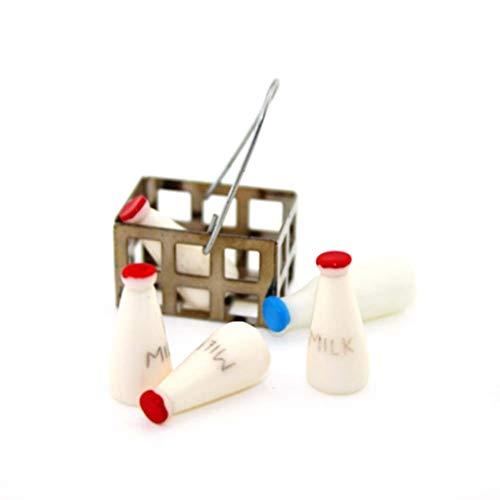 EXCEART Accesorios de Casa de Muñecas Mini Cesta Leche Modelo Decoración Mini Casa Alimentos Accesorios Miniatura 6 Piezas