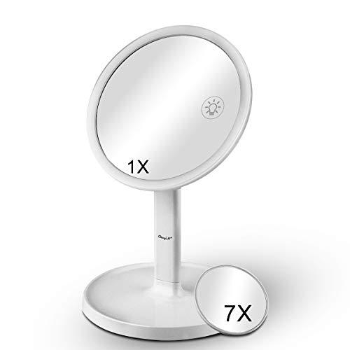 Specchio Per Il Trucco Luminoso, Specchio Ingranditore Ricaricabile 1X / 7X e 42 Luci a Led