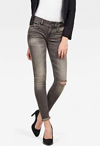 G-STAR RAW Damen Lynn Mid Skinny Jeans, Medium Aged Ripped, 24W / 32L