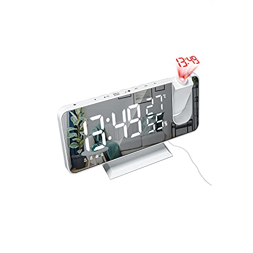 YYLI wecker mit projektion, digital Uhr Projektionswecker Mit FM-Radio, Radiowecker Mit USB-Ladeanschluss, wecker digital mit LED Spiegelbildschirm, funkwecker digital für Schreibtisch deko