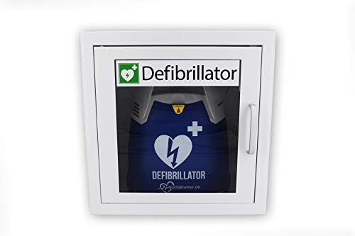 Notfallretter ® Defibrillator AED Basic, vollautomatische Schockauslöung, inkl. Metallwandkasten und AED Standortwinkel