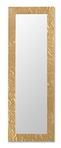 Specchio Oro da Parete Cornice Legno Dorato Misura Esterna cm. 50x145 Verticale/Orizzontale. Made in Italy.