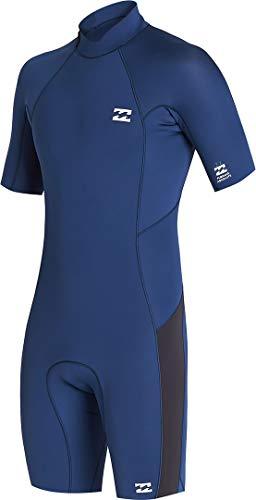 BILLABONG Mens Absolute 2mm Flatlock Back Zip Shorty Wetsuit S42M71 - Blue Indigo Wetsuit Size - MS