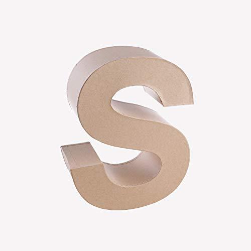 MP - Letra Decorativa en 3D Grande de Cartón - Letra S - Color Kraft, 16,5 cm