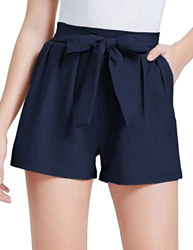 GRACE KARIN Women's Summer Casual Shorts Elastic Waist Belt Decorated Navy