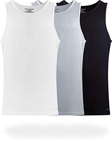 Pair of Thieves Men's 3 Pack Super Soft Tank Top, White/Black/Grey, Medium