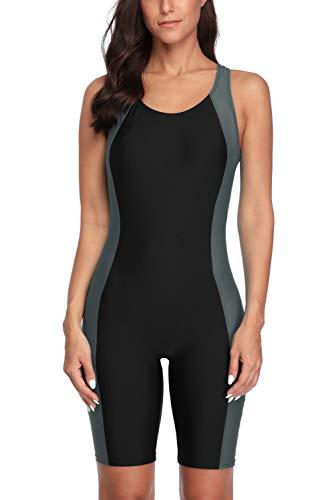 CharmLeaks Women's One Piece Swimsuit Boyleg Sports Training Swimwear Black 2XL