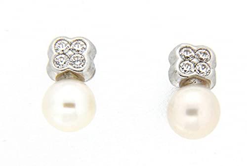Pendientes perla oro blanco