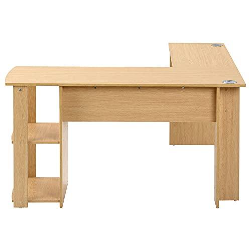 Zuoox Escritorio de comedor, mesa de ordenador, mesa de esquina para oficina, mesa de ordenador, escritorio en forma de L, 2 estantes, espacioso, para el hogar y la oficina