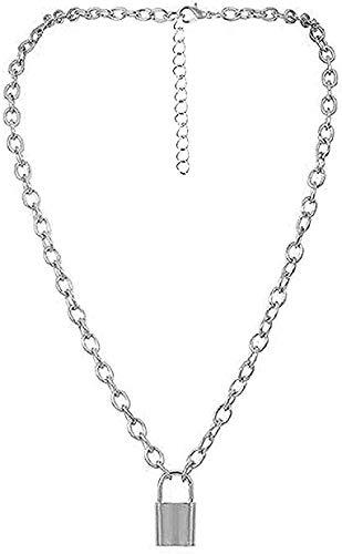 Collares Moda Rock Gargantilla Collar con cadena de capa de bloqueo en el cuello Joyas de bloqueo Collar de llave punk Colgante con candado para mujeres Regalo para mujeres Hombres Collar Colgante
